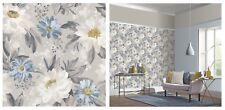 Arthouse Dahlia Grey Blue White Multi Country Floral Wallpaper, 676105