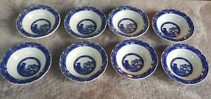 Vintage Ringtons Willow Pattern Cereal Bowls Set of 8