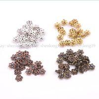 100Pcs Tibetan Silver Gold Metal Flower Loose Spacer Beads Caps 6MM L3012