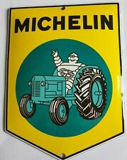 MICHELIN - TRACTOR (GARAGE). PORCELAIN EMAILLE ENAMEL SHIELD, SIGN, PLATE. RETRO