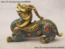 China Bronze Cloisonne Enamel Fengshui Attract Wealth Kylin Brave troops Statue