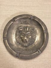 Vintage Metro Goldwyn Meyer MGM Studios pewter metal ash tray with lion face
