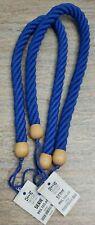 Thick Rope Wood Curtain Tiebacks Chunky Tieback Nautical Tieback Blue Set of 2