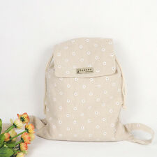 Handmade Cotton Linen Draw String Backpack Student Book Bag White Daisy WF06 B
