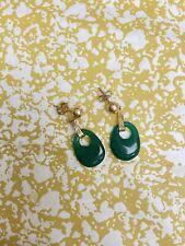 14K Yellow Gold Earrings Dangle Post Jade Cabachon