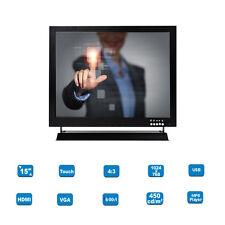 "15"" LCD 1024*768 HD Touch Screen TFT POS Retail Monitor HDMI BNC VGA MP5 Player"