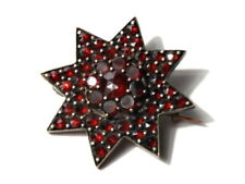 Antique Czech Bohemian Star pin brooch Pyrope ruby red faceted garnet gemstones