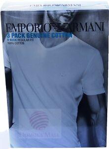 Emporio Armani 3 Pack Genuine Cotton V Neck T-Shirt XL Black 100% Cotton