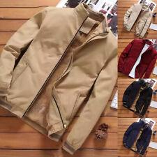 Men's Zipper Winter Warm Parka Coat Bomber Outwear Fleece Lined Puffer Jacket