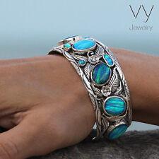 925 Sterling Silver Men Women Cuff Bracelet Blue Opal Stone Handcraft Jewelry