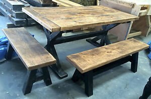 RUSTIC CHUNKY TRESTLE TABLE & BENCH SET - MADE TO MEASURE - ANY SIZE