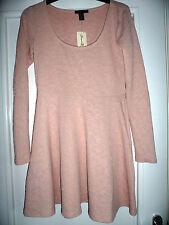 BNWT Forever 21 Blush Pink Short Skater Dress Size M Long Sleeve Floral Texture
