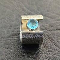 Blue Topaz Ring Solid 925 Sterling Silver Band Ring Meditation Ring Size RR40