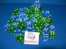 NEW 12 GREEN AND BLUE ACRYLIC DICE 16MM 2 COLORS 6 OF EACH COLOR
