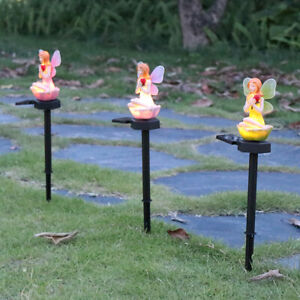 LED Solar Flower Fairy Lights Outdoor Pixie Lawn Stakes Lamps Garden Home Decor