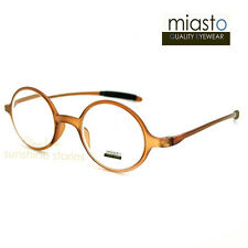TR90 MIASTO LENNON ULTRA LIGHT READER READING GLASSES SPECS+2.00 ROUND BROWN