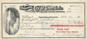 1912 TREASURE CITY OF GREAT FALLS. CASCADE COUNTY.  MONTANA    VIGNETTE