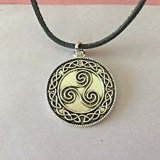 CELTIC NORSE STYLE *TRISKILLION SPIRAL PENDANT* THE POWER OF THREE +LEATHER CORD