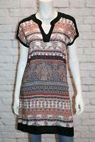 puravida Brand BOHO Navy Floral Short Sleeve Day Dress Size S/M #AN02