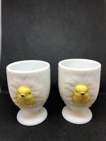 """Vintage Westmoreland Milk Glass Egg Cups 3D Hatching Chick 3"""" Tall Pair"""