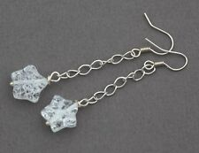 CLEAR CRACKLED QUARTZ STAR LONG DROP EARRINGS ~ SILVER PLATED