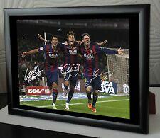 Lionel Messi, Neymar & Luis Suarez Framed Canvas Print Autographed.