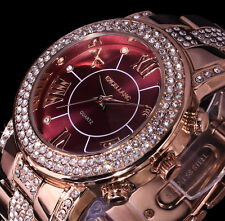 Excellanc Damen Armband Uhr Bordeaux Rot Rose Gold Farben Metall Strass B