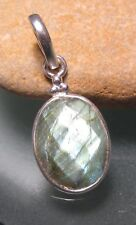 925 sterling silver everyday faceted labradorite pendant. Gift bag.