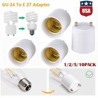 1/2/5/10-pack GU24 To E26/E27 LED Light Bulb Holder Adapter Socket Converter US