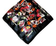 SCARF Lg Square Red Orange Green Black White Brown Flowers BOLD FLORAL