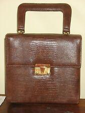 "Vintage Brown Faux Lizard Handbag BERNE California 9""X 8.5"" Excellent"
