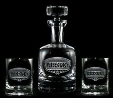 Engraved Whiskey Decanter and Glass Gift Set, 4 Glasses