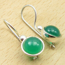 """Embellished Dangle Earrings 0.9"""" Brand New 925 Silver Overlay Round Green Onyx"""