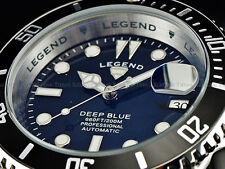 NEW Legend Men Submariner Deep Blue Auto Sapphitek MidNight Black Dial SS Watch