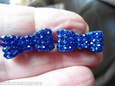 PRETTY, ROYAL BLUE CRYSTAL ENCRUSTED METAL BOW STUD EARRINGS VERY CUTE