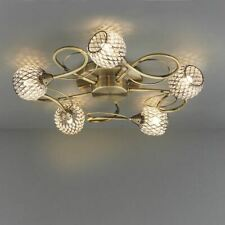 Antique Brass Finish Stylish Aherne 33W 5 Light Ceiling Semi Flush Fitting