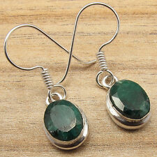 Cut Green Simulated Emerald Nice Earrings Price Jewelry ! 925 Silver Overlay