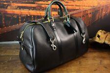 "LOUIS VUITTON 18"" 2 Tone Black Green Leather Duffle Carryall Briefcase Bag Mens"