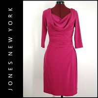 Jones New York Woman Career Formal Cocktail Faux Wrap Dress Size 6 Magenta