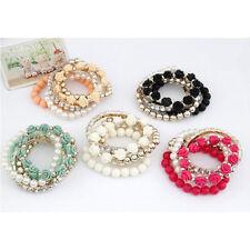 Bohemian Fashion Multilayer Pearl Rose Flower Beads Stretch Bracelet Bangle HZ
