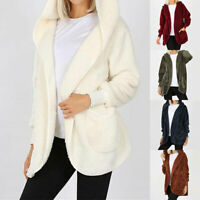Autumn Solid Color Plush Hooded Coats Casual Long Sleeve Women Jackets Outwear H