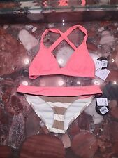 NWT $120 BODY GLOVE Distraction Cross Back Striped Swimsuit Bikini Set Womens XS
