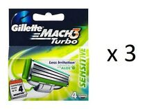 Gillette Mach3 Turbo Sensitive Refill Blades, 4 ct (Germany) - 3 Pack