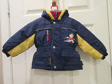 WEATHER TAMER- RED/YELLOW/ NAVY BLUE HOODED NYLON JACKET POCKETS- SIZE 18 MOS