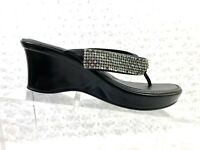 Women's Italian Shoemakers Black Rhinestone Thong Wedge Strap-Size 6