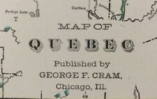 "QUEBEC CANADA 1902 Vintage Atlas Map 22""x14"" ~ Old Antique SHERBROOKE OTTAWA"