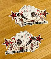 PIN UPS NEVER DIE Aufkleber Sticker Set 2 Stk. Ace Poker Girl Tattoo Decal Pu075
