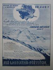 1927 PUB LORRAINE DIETRICH MOTEUR AVIATION RECORD ALTITUDE EVEREST ORIGINAL AD