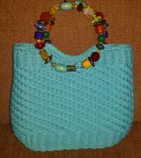 NWOT Cappelli Strawold blue woven purse Bead handles Turquoise  handbag Ladies