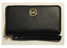 NWT MICHAEL KORS FULTON MULTIFUNCTION PHONE CASE COIN WRISTLET Black Leather